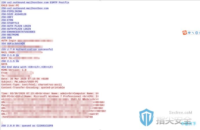 SMTP协议数据包